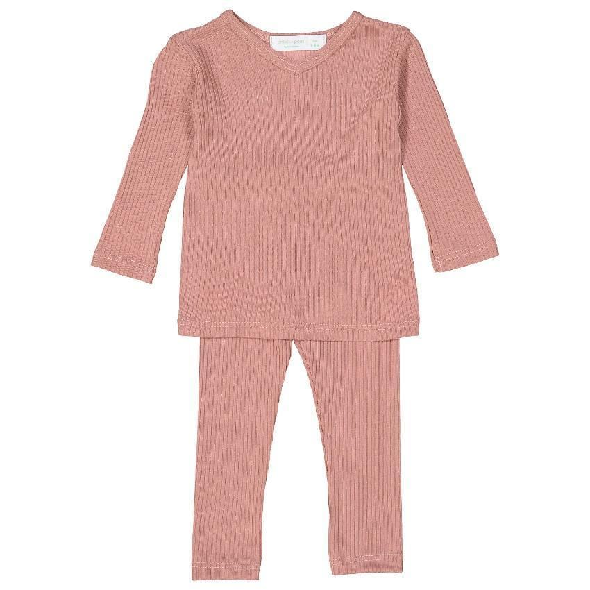 Petals & Peas Set Jellybeanzkids Petals & Peas Rose V-neck Ribbed Set