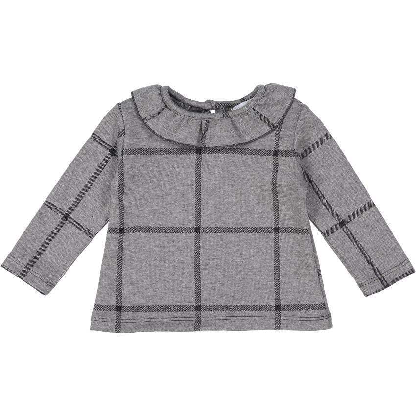 Petals & Peas Shirt Jellybeanzkids Petals & Peas Gray Plaid Top