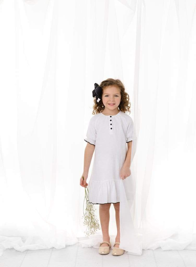 Petit Clair Petit Clair White Gauze Dress  JellyBeanz Kids