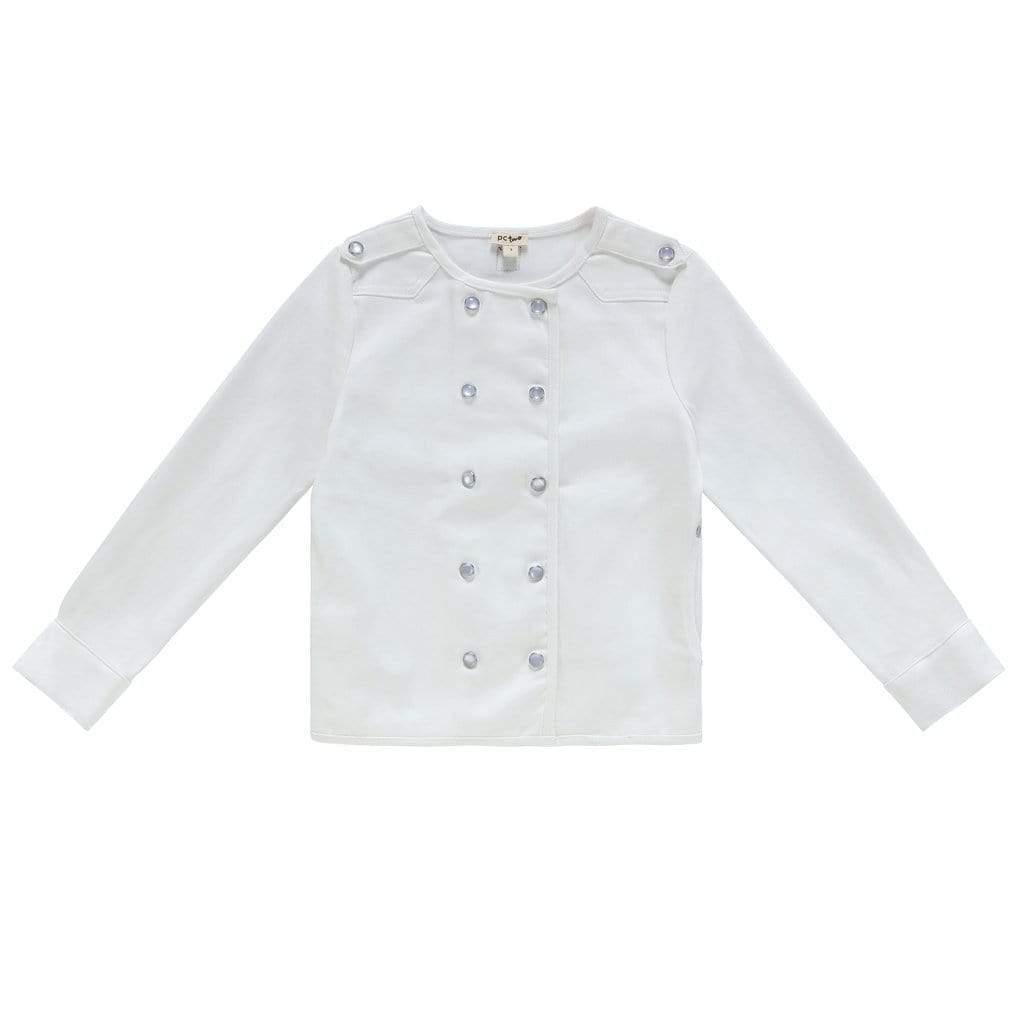Petit Clair Petit Clair  Double Breasted White Denim Jacket  JellyBeanz Kids