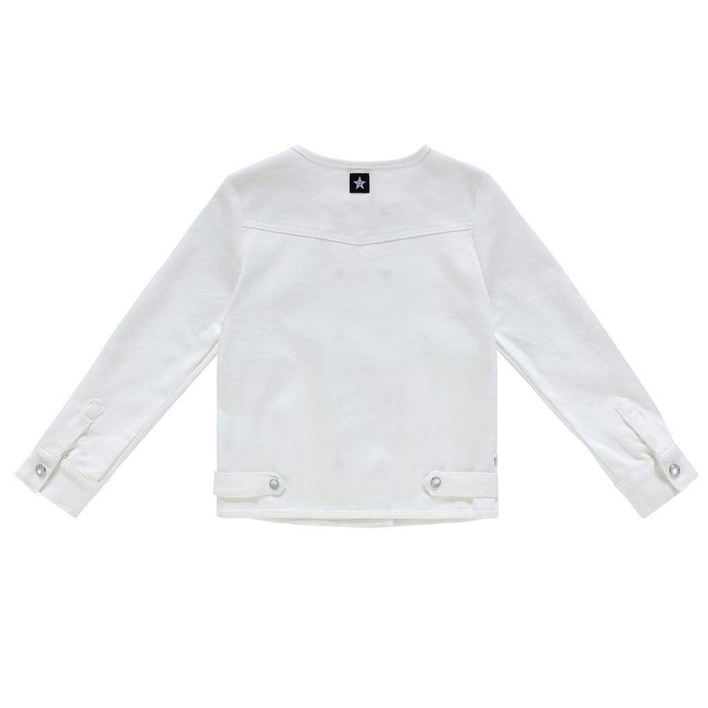 Petit Clair  Double Breasted White Denim Jacket - JellyBeanz Kids