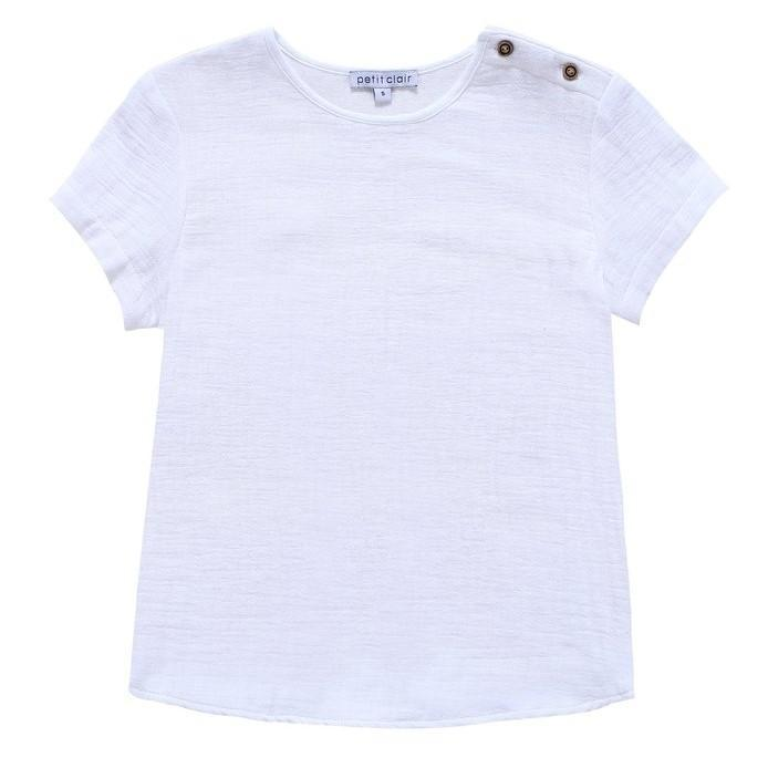 Petit Clair Textured White Shirt  JellyBeanz Kids