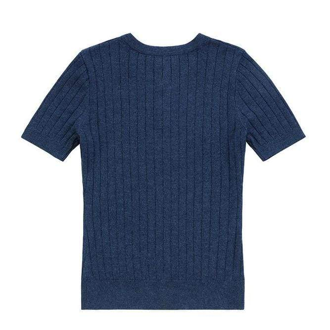 Petit Clair Petit Clair Blue Ribbed Knit Sweater  JellyBeanz Kids