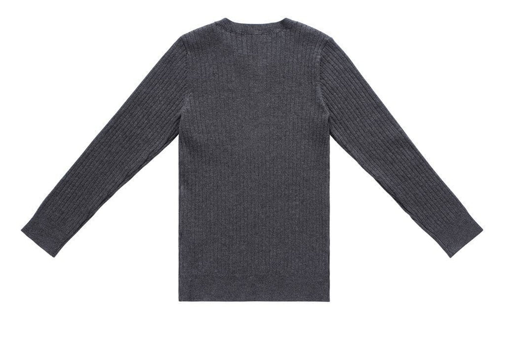 Petit Clair Sweater Jellybeanzkids Petit Clair Charcoal Ribbed Sweater