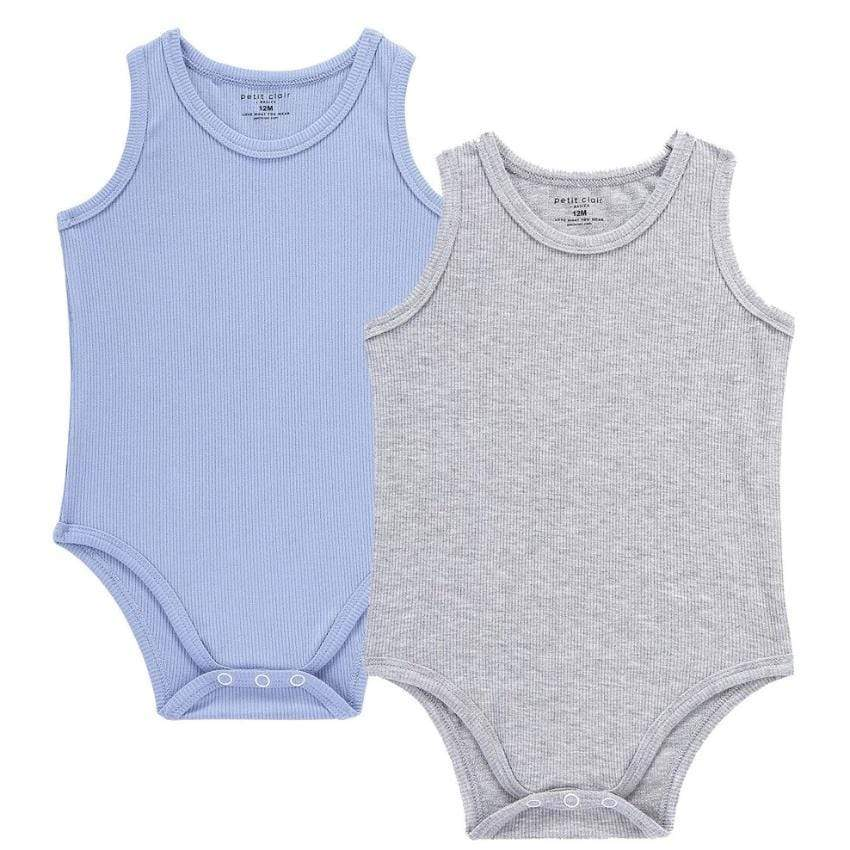Petit Clair Baby 2pc Color Ribbed Bodysuit - JellyBeanz Kids