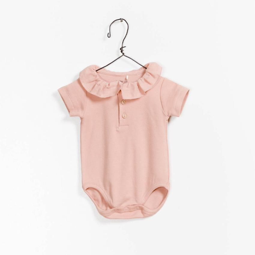 Play Up Deep Blush Ruffled Bodysuit  JellyBeanz Kids