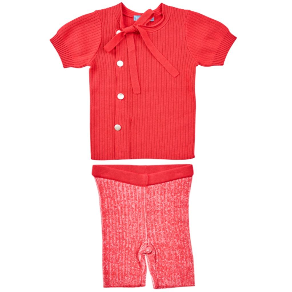 Pompomme Set Jellybeanzkids Pompomme Red Ribbed Set