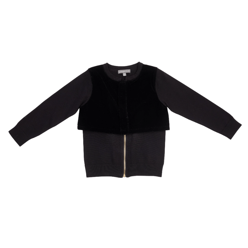 Pompomme Sweater Jellybeanzkids Pompomme Black Velvet Zipper Sweater