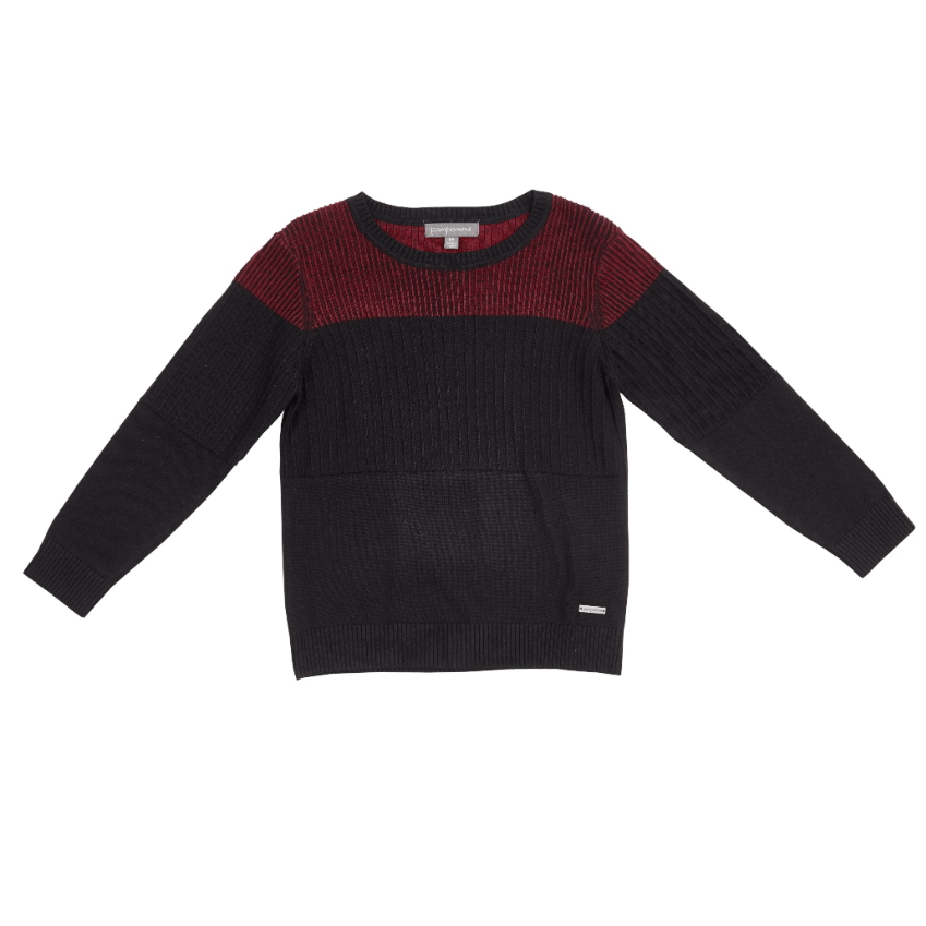 Pompomme Sweater Jellybeanzkids Pompomme Maroon and Black Ribbed Sweater