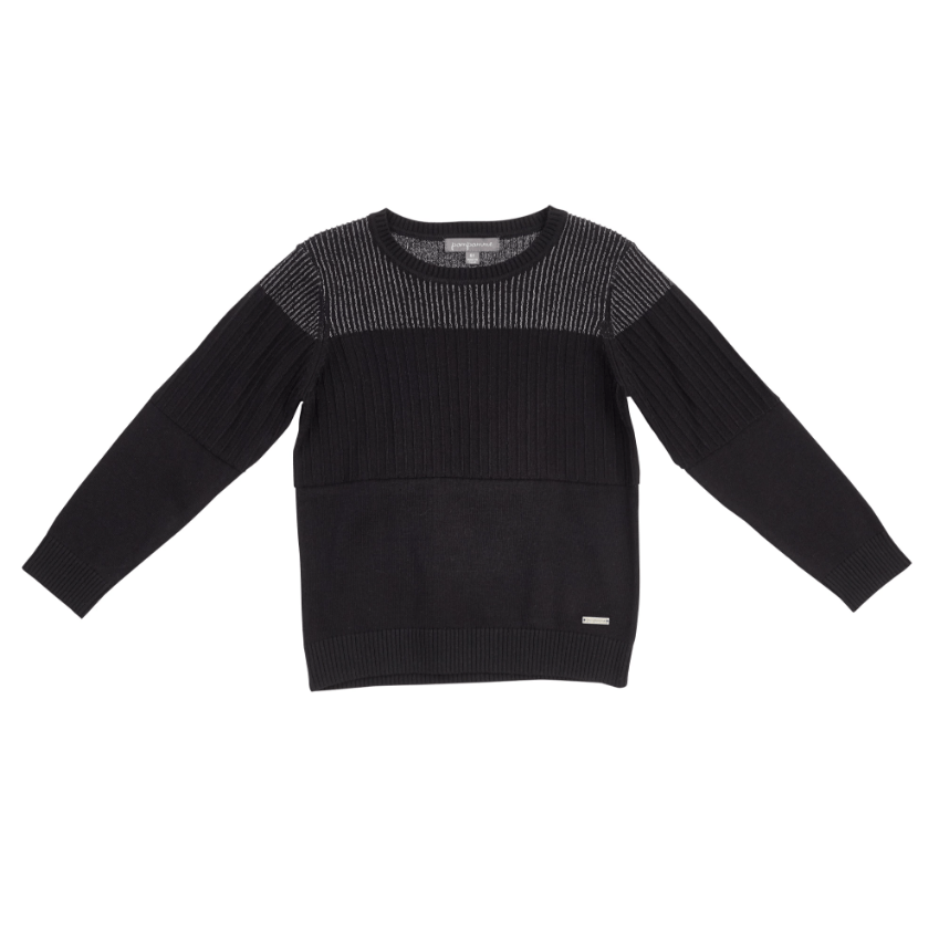 Pompomme Sweater Jellybeanzkids Pompomme Silver and Black Ribbed Sweater
