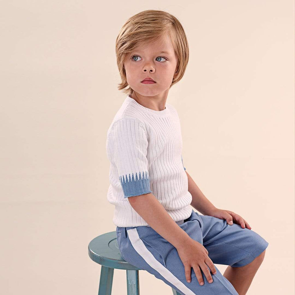 Pompomme Pompomme Blue Stich Sweater  JellyBeanz Kids