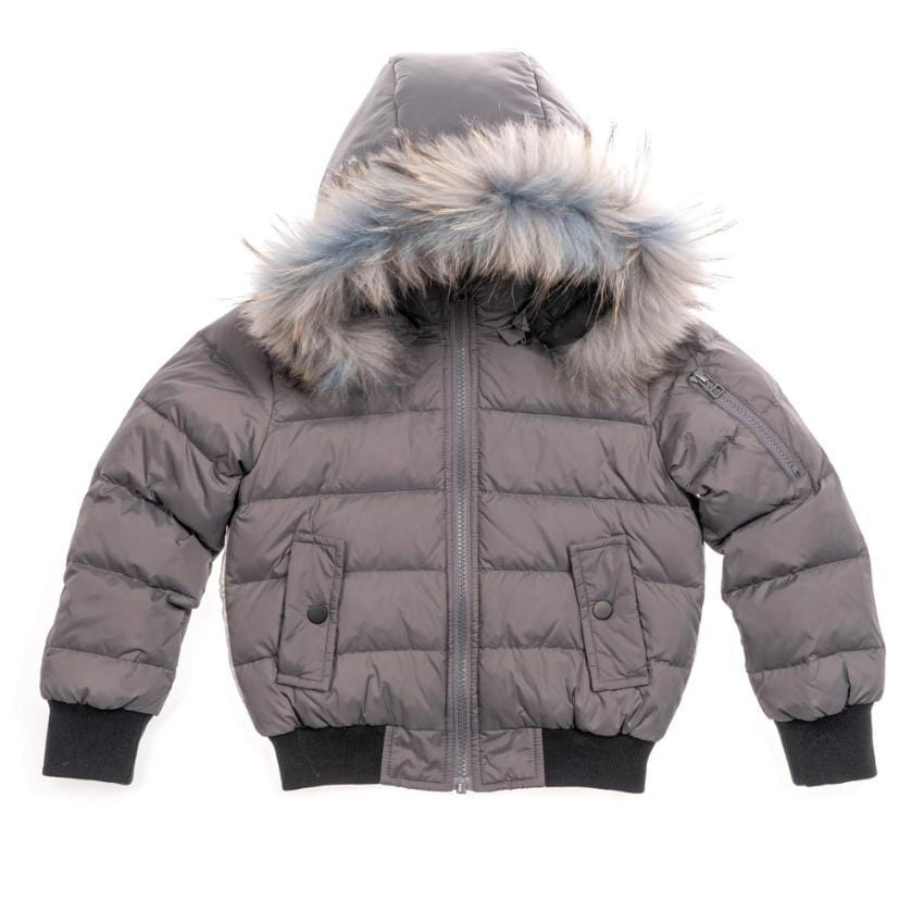 Scotch Bonnet Coat Jellybeanzkids Scotch Bonnet Gray Bomber With Color Fur