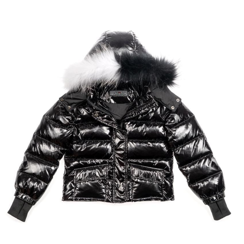 Scotch Bonnet Coat Jellybeanzkids Scotch Bonnet Shiny Black Coat with Black & White Fur