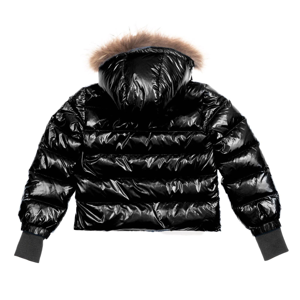 Scotch Bonnet Coat Jellybeanzkids Scotch Bonnet Shiny Black Coat with Natural Fur