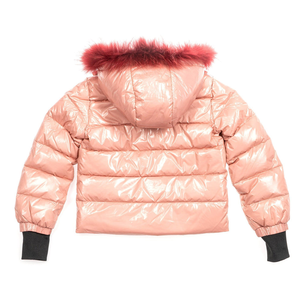 Scotch Bonnet Coat Jellybeanzkids Scotch Bonnet Shiny Pink Coat with Maroon Fur