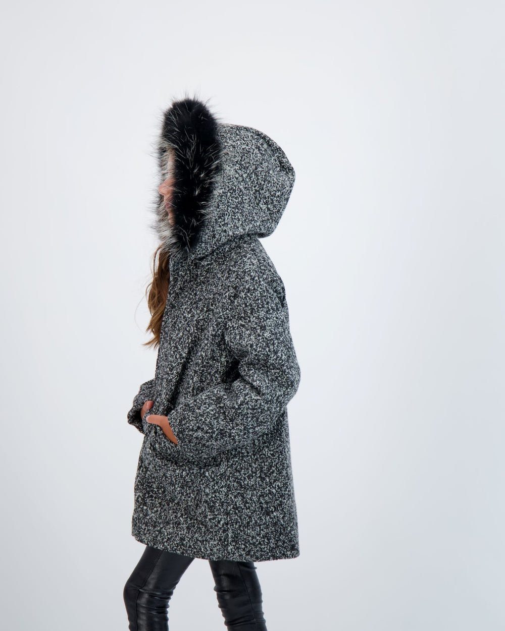 Scotch Bonnet Scotch Bonnet Black Speckled Wool Coat  JellyBeanz Kids
