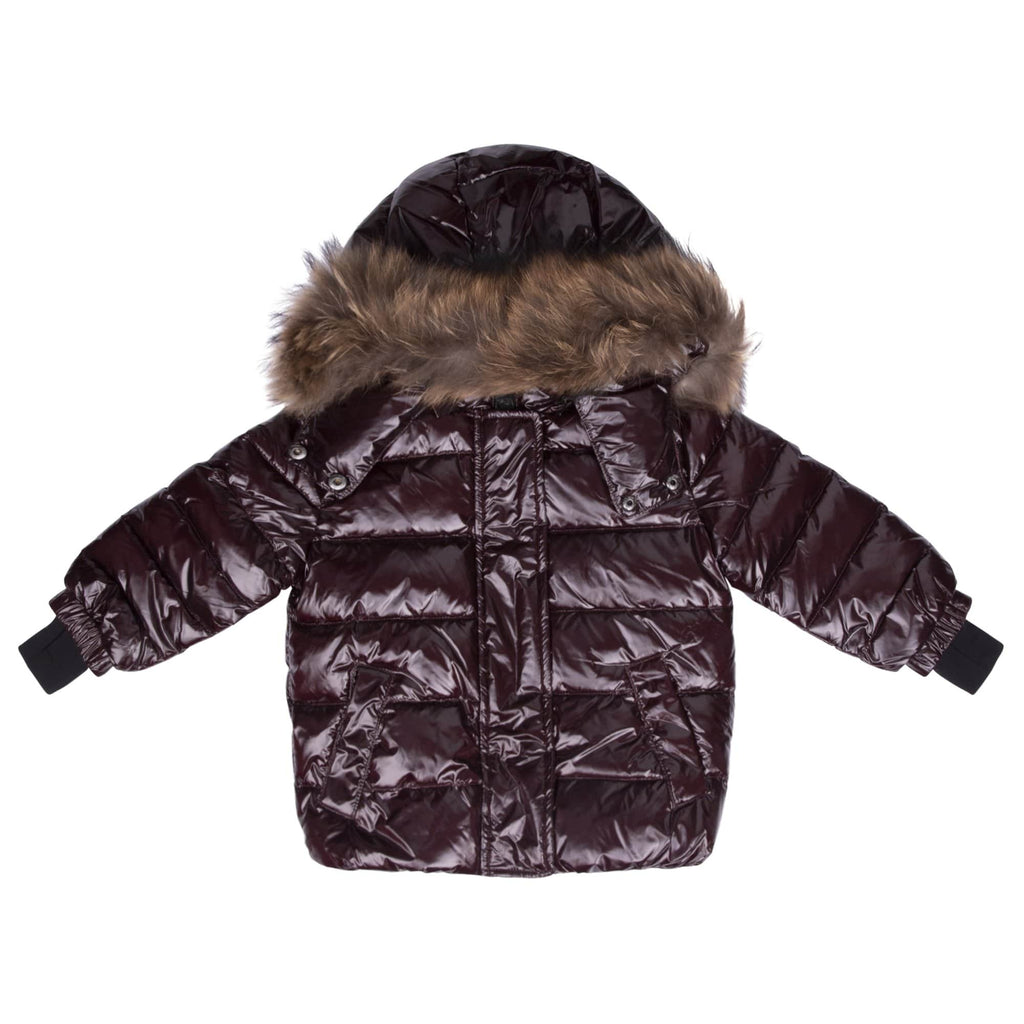 Scotch Bonnet jacket Jellybeanzkids Scotch Bonnet Cranberry Jacket with Natural Fur