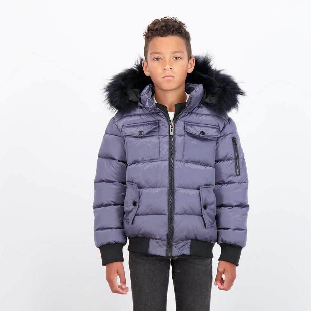 Scotch Bonnet jacket Jellybeanzkids Scotch Bonnet Gray Blue Bomber with Black Fur