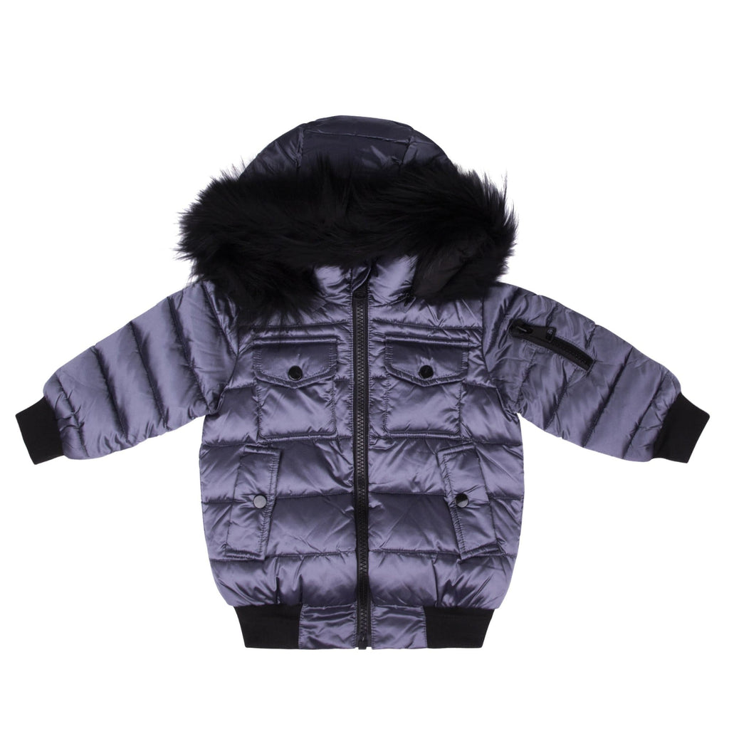 Scotch Bonnet Scotch Bonnet Gray Blue Bomber with Black Fur  JellyBeanz Kids