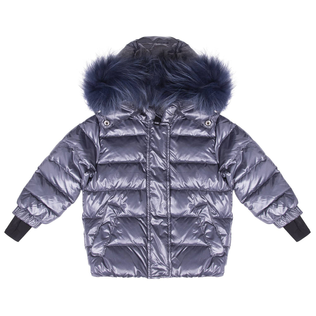 Scotch Bonnet jacket Jellybeanzkids Scotch Bonnet Gray Blue Jacket with Blue Fur