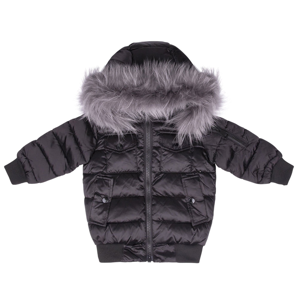 Scotch Bonnet jacket Jellybeanzkids Scotch Bonnet Matte Black Bomber with Gray Fur