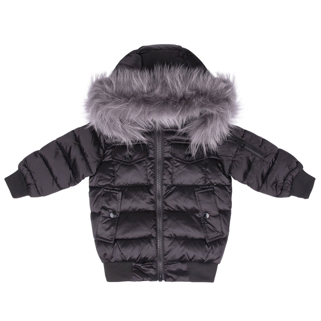 Scotch Bonnet Scotch Bonnet Matte Black Bomber with Gray Fur  JellyBeanz Kids