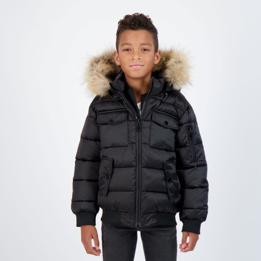 Scotch Bonnet Scotch Bonnet Matte Black Bomber with Natural Fur  JellyBeanz Kids