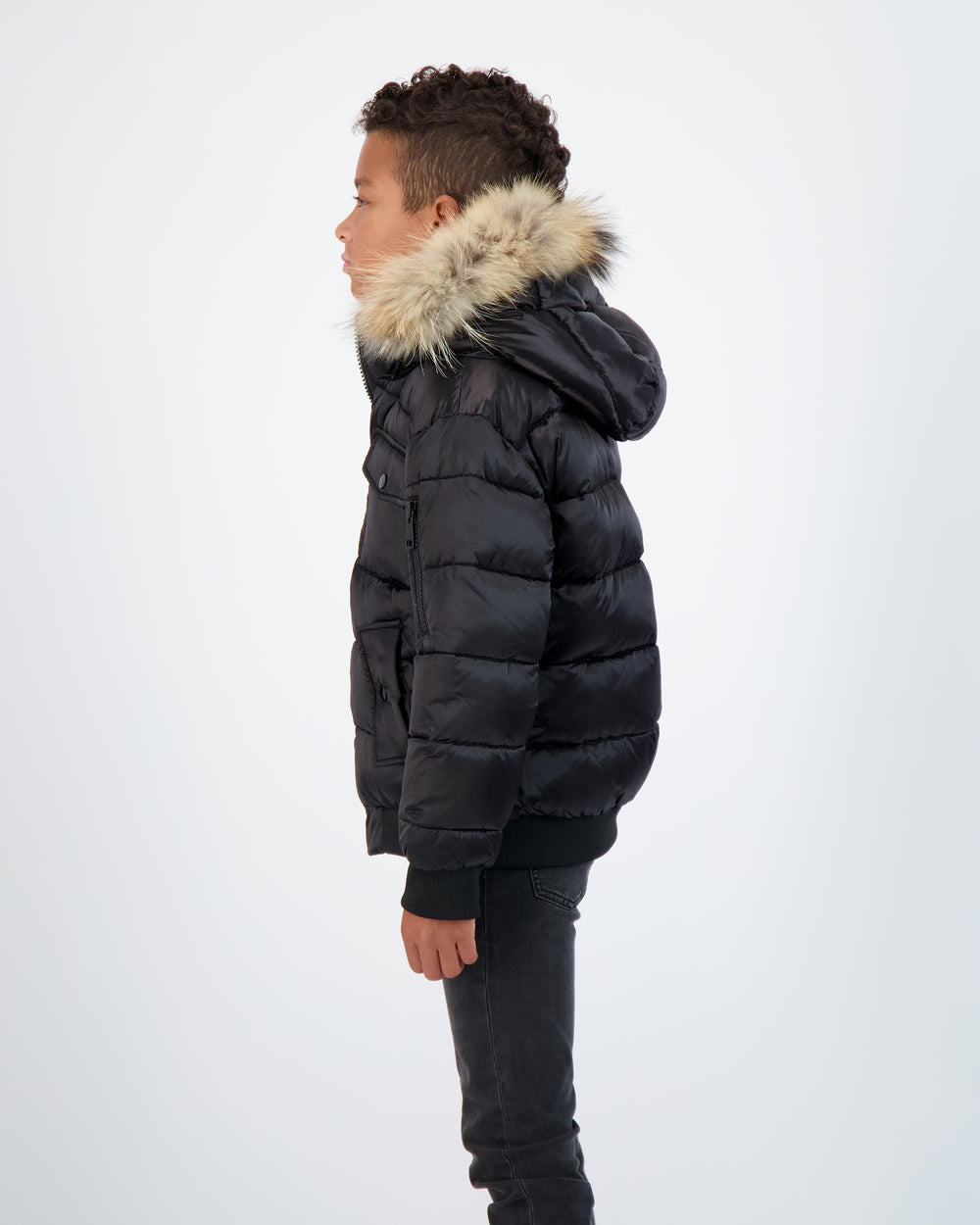 Scotch Bonnet jacket Jellybeanzkids Scotch Bonnet Matte Black Bomber with Natural Fur