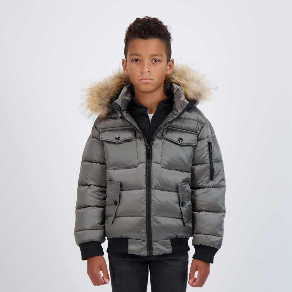 Scotch Bonnet Scotch Bonnet Olive Bomber with Natural Fur  JellyBeanz Kids
