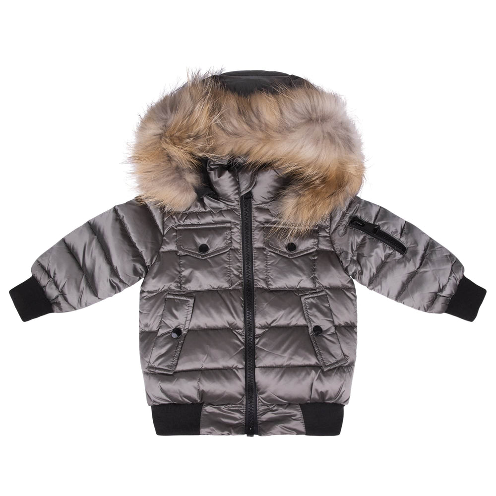 Scotch Bonnet jacket Jellybeanzkids Scotch Bonnet Olive Bomber with Natural Fur