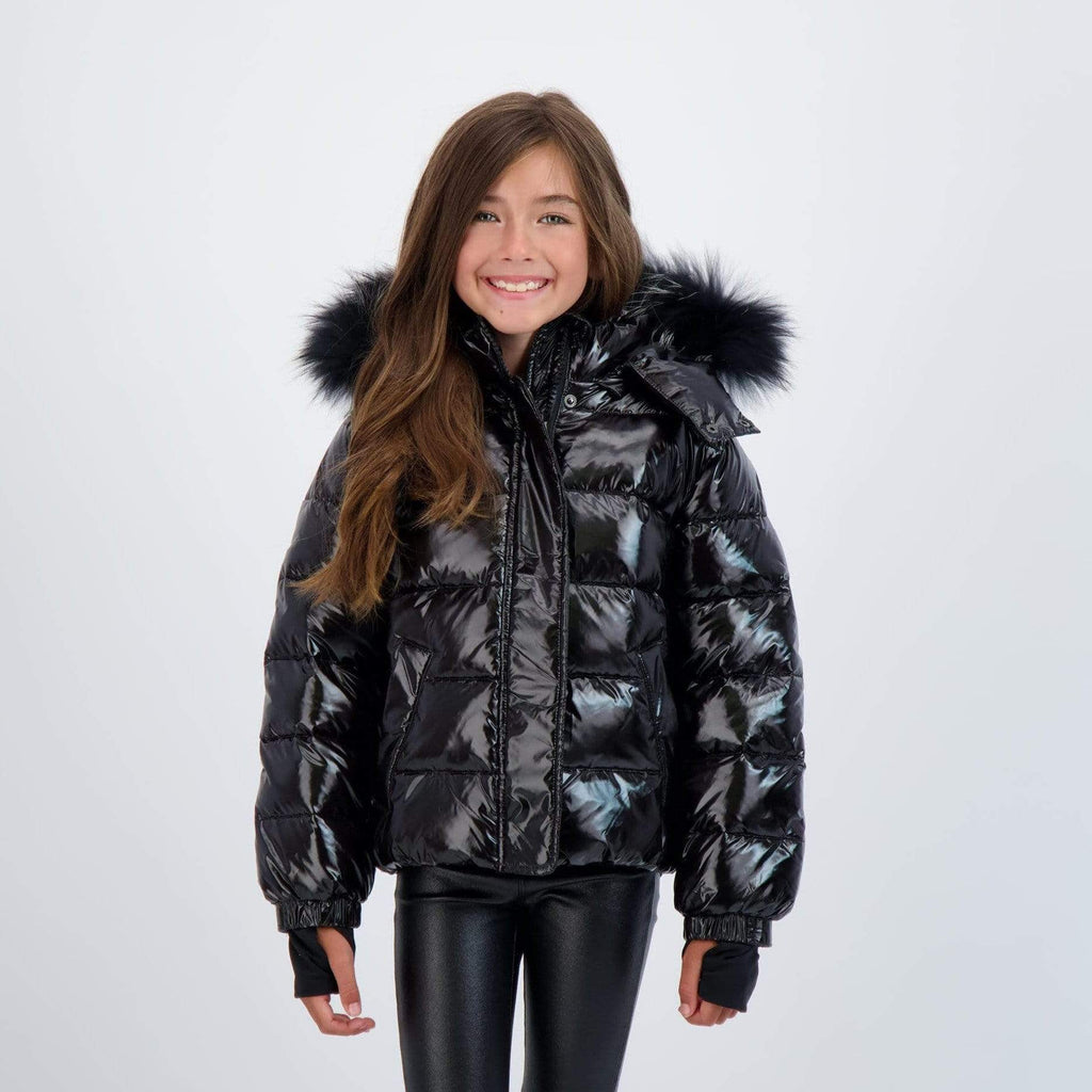 Scotch Bonnet Scotch Bonnet Shiny Black Jacket with Black Fur  JellyBeanz Kids