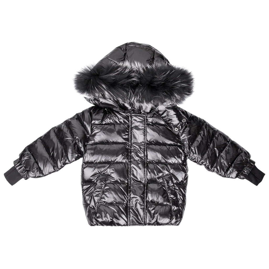 Scotch Bonnet jacket Jellybeanzkids Scotch Bonnet Shiny Black Jacket with Black Fur
