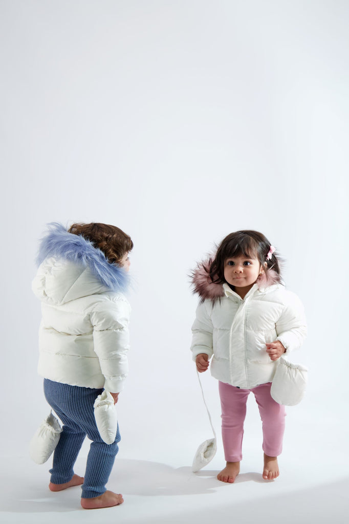 Scotch Bonnet Scotch Bonnet White Baby Jacket with Light Blue Fur  JellyBeanz Kids