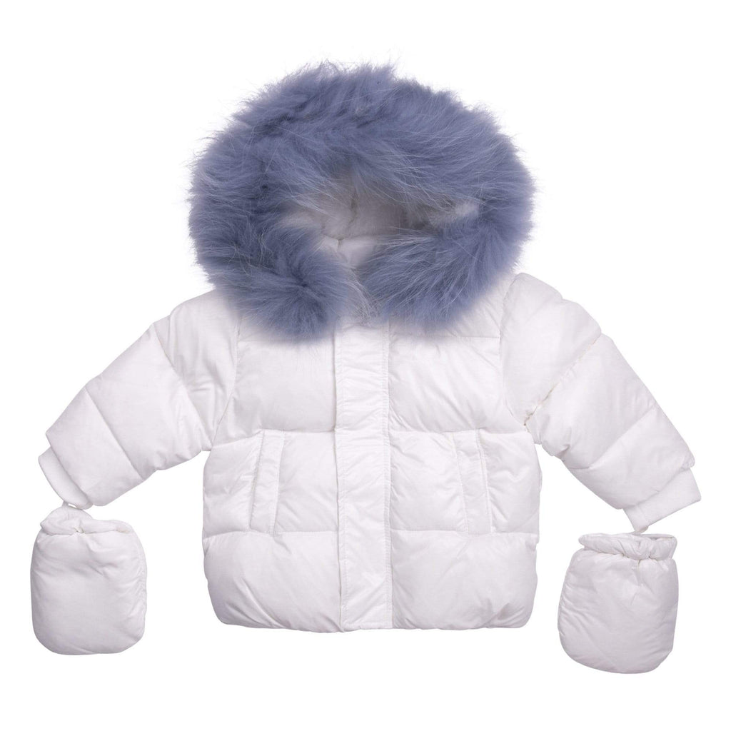 Scotch Bonnet jacket Jellybeanzkids Scotch Bonnet White Baby Jacket with Light Blue Fur