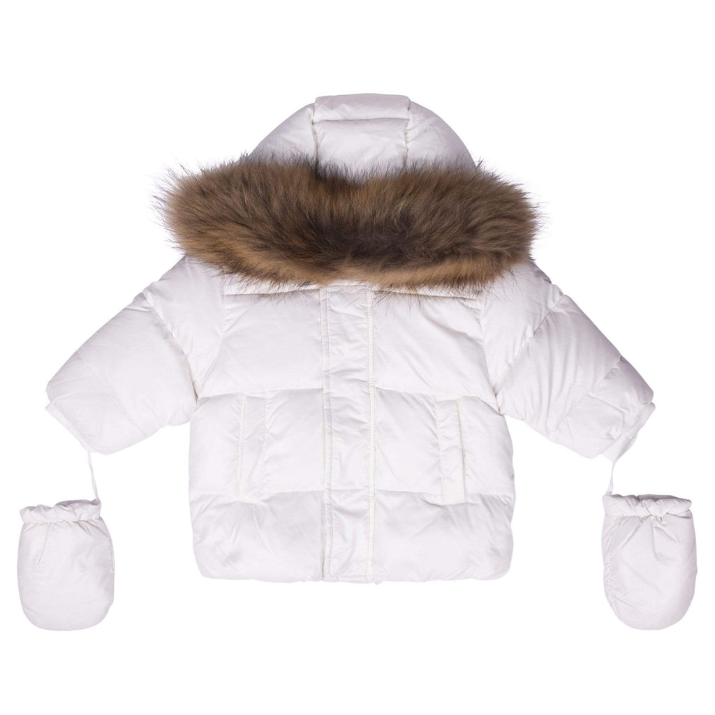 Scotch Bonnet jacket Jellybeanzkids Scotch Bonnet White Baby Jacket with Natural Fur