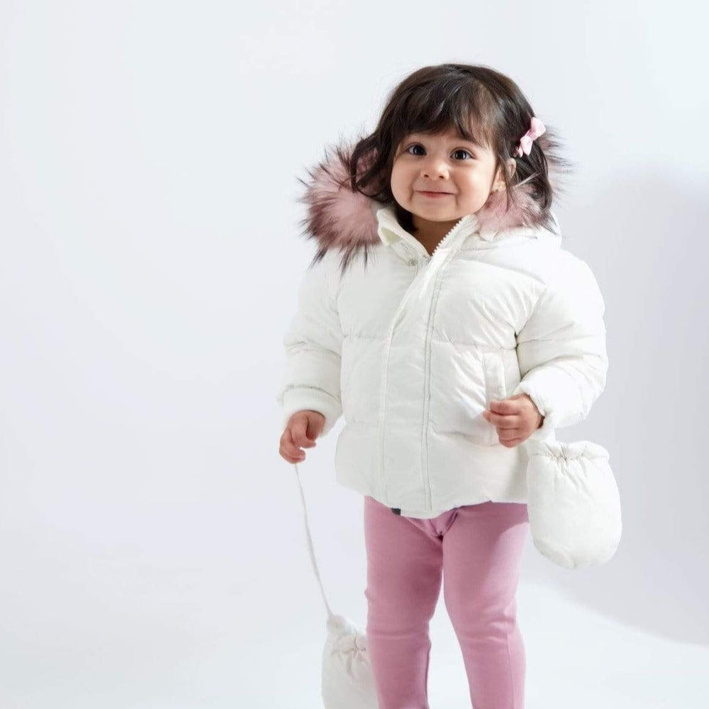 Scotch Bonnet Scotch Bonnet White Baby Jacket with Pink Fur  JellyBeanz Kids