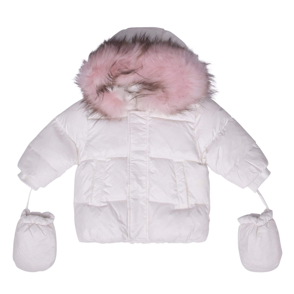 Scotch Bonnet jacket Jellybeanzkids Scotch Bonnet White Baby Jacket with Pink Fur