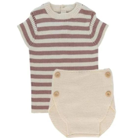 Sweet Threads Sweet Threads Rose Knit Set  JellyBeanz Kids