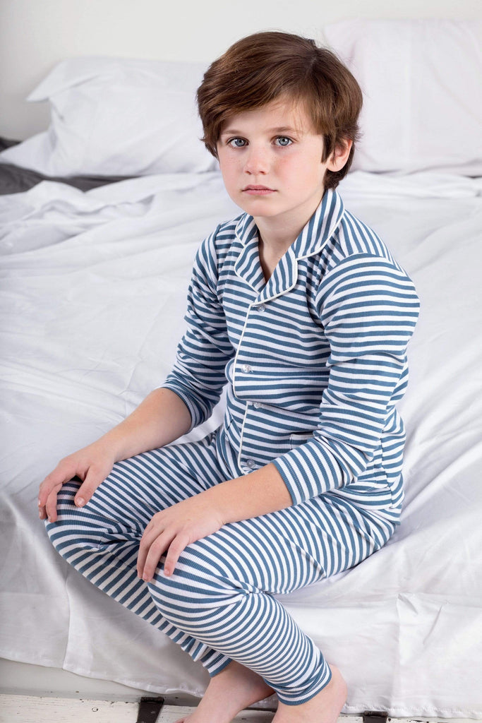 The Red League Pajamas Jellybeanzkids Red League Chambray Stripe Ribbed Grandfather Pj's