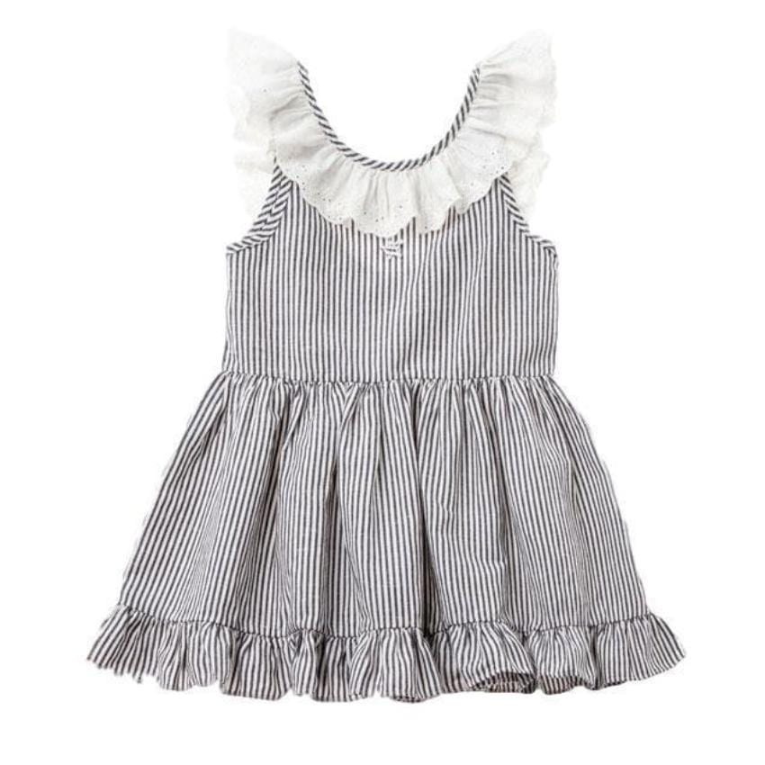 Tocoto Vintage Navy Striped Dress  JellyBeanz Kids