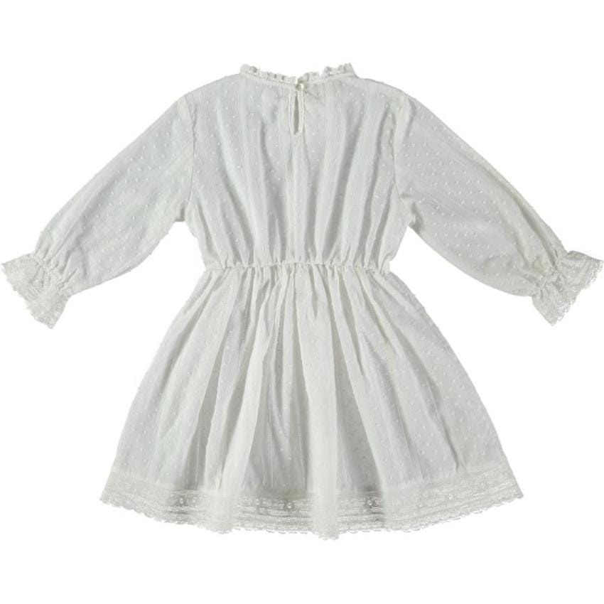 Tocoto Vintage Off White Plumeti Dress  JellyBeanz Kids