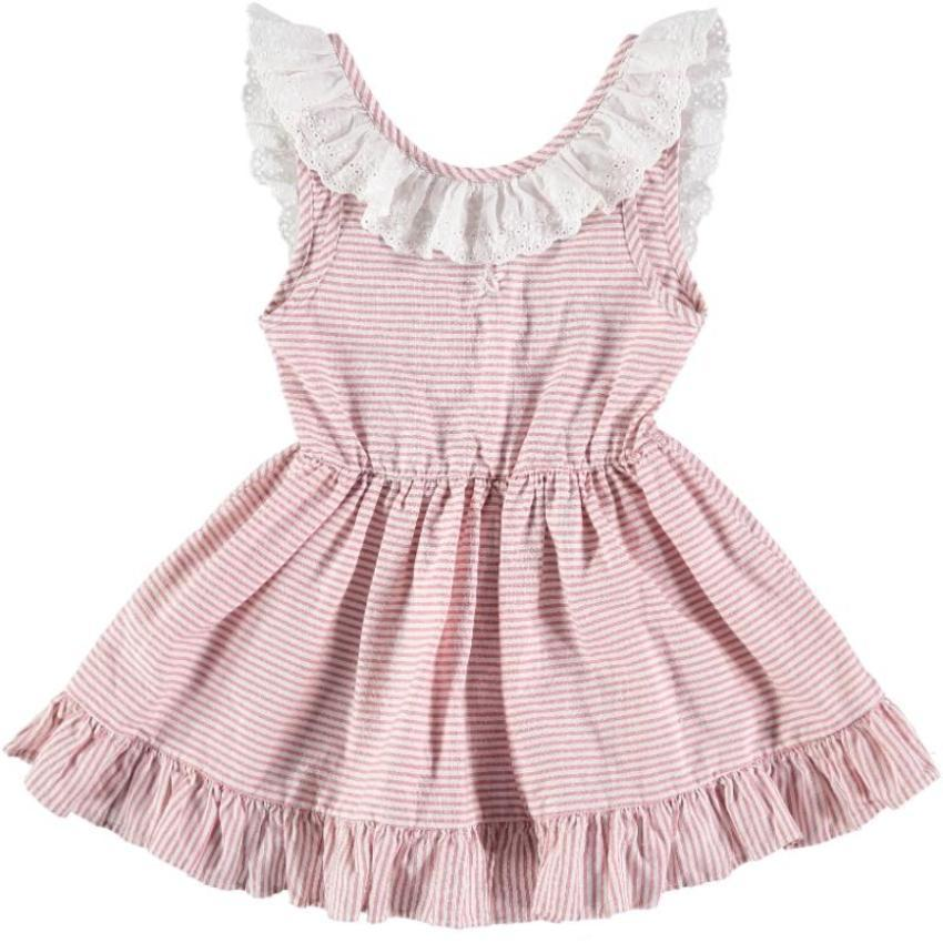 Tocoto Vintage Pink Striped Dress  JellyBeanz Kids
