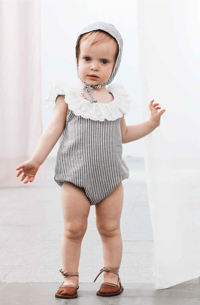 Tocoto Vintage Navy Striped Romper  JellyBeanz Kids
