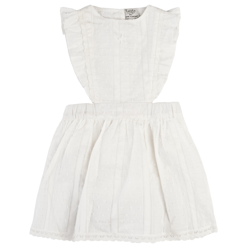 Tocoto Vintage Off White Plumeti Romper Dress  JellyBeanz Kids