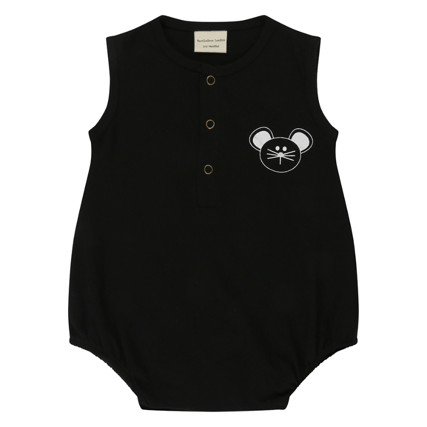 Turtledove London Black Character Bubble Romper  JellyBeanz Kids
