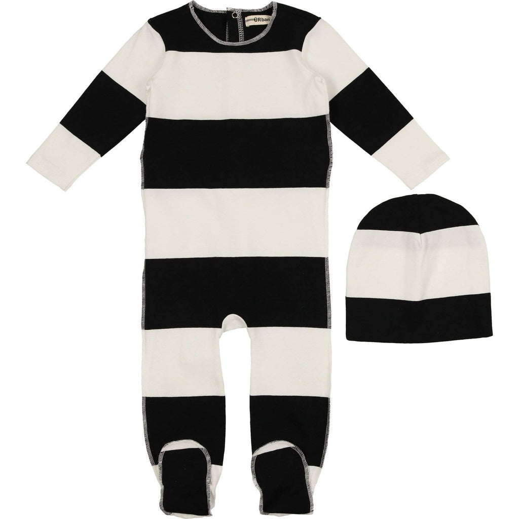 URbani URbani Black Footie with Beanie  JellyBeanz Kids