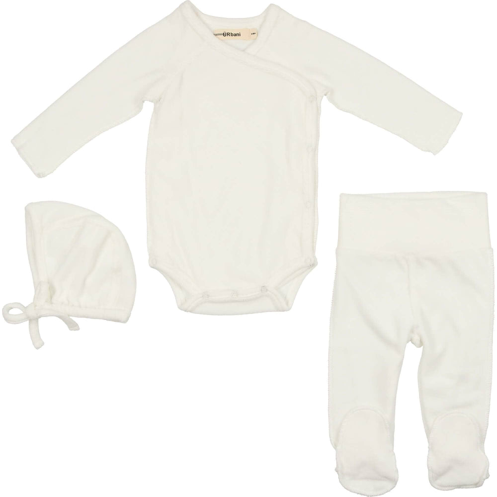 URbani Set Jellybeanzkids Urbani Cream Velour Wrap Set