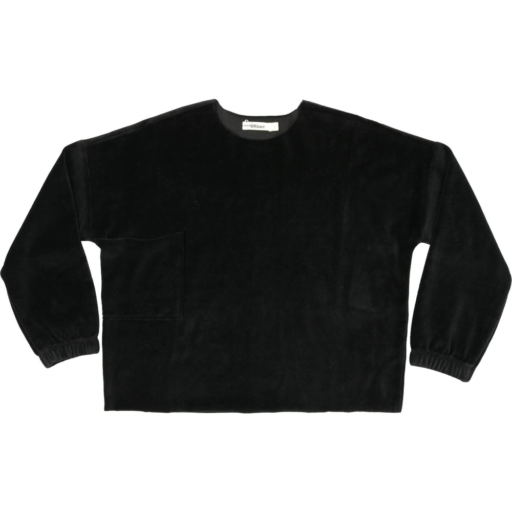 URbani Sweatshirt Jellybeanzkids URbani Black Oversized Velour Top