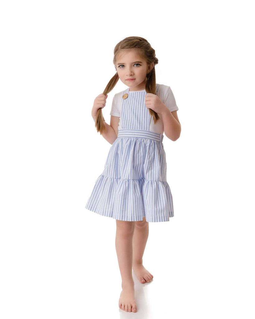 Velvette Label Dress Jellybeanzkids Velvette Label Striped Pinafore Dress