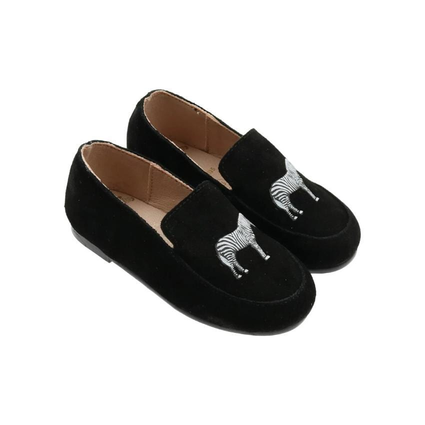 Zeebra Kids Accessories Jellybeanzkids Zeebra Black Ink Suede Logo Baby Loafer